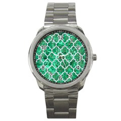 Tile1 White Marble & Green Marble Sport Metal Watch