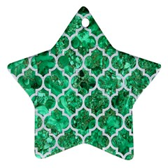 Tile1 White Marble & Green Marble Star Ornament (two Sides)