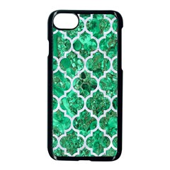 Tile1 White Marble & Green Marble Apple Iphone 7 Seamless Case (black)
