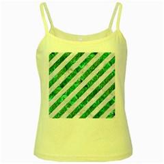 Stripes3 White Marble & Green Marble (r) Yellow Spaghetti Tank