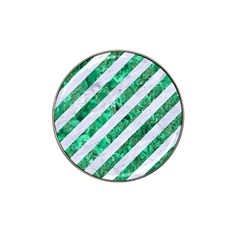 Stripes3 White Marble & Green Marble (r) Hat Clip Ball Marker (4 Pack)