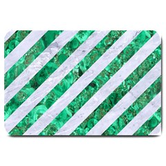 Stripes3 White Marble & Green Marble (r) Large Doormat