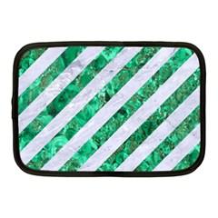 Stripes3 White Marble & Green Marble (r) Netbook Case (medium)