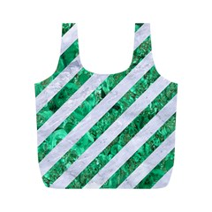 Stripes3 White Marble & Green Marble (r) Full Print Recycle Bags (m)