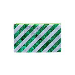 Stripes3 White Marble & Green Marble (r) Cosmetic Bag (xs)