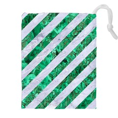 Stripes3 White Marble & Green Marble (r) Drawstring Pouches (xxl)