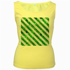 Stripes3 White Marble & Green Marble Women s Yellow Tank Top