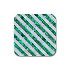 Stripes3 White Marble & Green Marble Rubber Coaster (square)