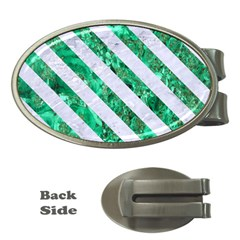 Stripes3 White Marble & Green Marble Money Clips (oval)
