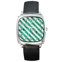 Stripes3 White Marble & Green Marble Square Metal Watch by trendistuff