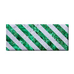 Stripes3 White Marble & Green Marble Hand Towel
