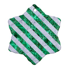 Stripes3 White Marble & Green Marble Snowflake Ornament (two Sides)