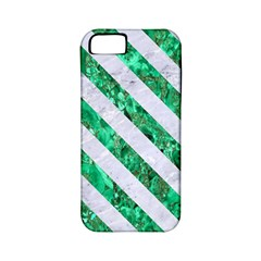 Stripes3 White Marble & Green Marble Apple Iphone 5 Classic Hardshell Case (pc+silicone)