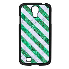 Stripes3 White Marble & Green Marble Samsung Galaxy S4 I9500/ I9505 Case (black)