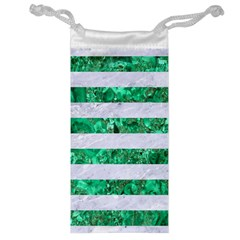 Stripes2 White Marble & Green Marble Jewelry Bags