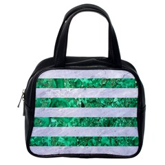 Stripes2 White Marble & Green Marble Classic Handbags (one Side)