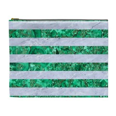 Stripes2 White Marble & Green Marble Cosmetic Bag (xl)