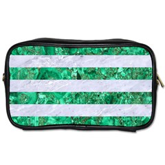 Stripes2 White Marble & Green Marble Toiletries Bags 2 Side