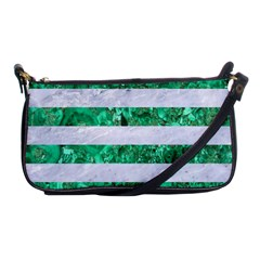 Stripes2 White Marble & Green Marble Shoulder Clutch Bags