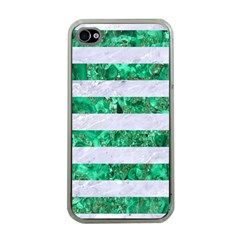 Stripes2 White Marble & Green Marble Apple Iphone 4 Case (clear)
