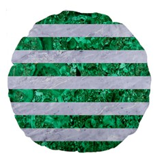 Stripes2 White Marble & Green Marble Large 18  Premium Round Cushions