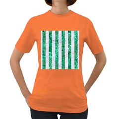 Stripes1 White Marble & Green Marble Women s Dark T Shirt