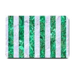Stripes1 White Marble & Green Marble Small Doormat