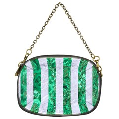 Stripes1 White Marble & Green Marble Chain Purses (one Side)