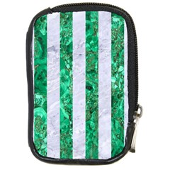 Stripes1 White Marble & Green Marble Compact Camera Cases