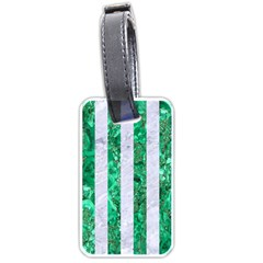 Stripes1 White Marble & Green Marble Luggage Tags (one Side)