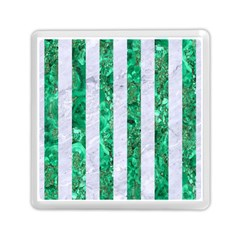 Stripes1 White Marble & Green Marble Memory Card Reader (square)