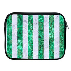 Stripes1 White Marble & Green Marble Apple Ipad 2/3/4 Zipper Cases