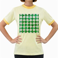 Square2 White Marble & Green Marble Women s Fitted Ringer T Shirts