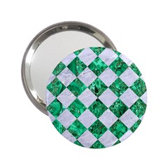Square2 White Marble & Green Marble 2 25  Handbag Mirrors