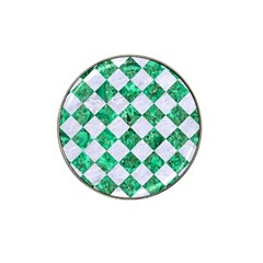 Square2 White Marble & Green Marble Hat Clip Ball Marker