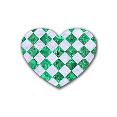 Square2 White Marble & Green Marble Rubber Coaster (heart)