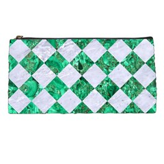 Square2 White Marble & Green Marble Pencil Cases by trendistuff