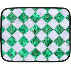 Square2 White Marble & Green Marble Double Sided Fleece Blanket (mini)  by trendistuff