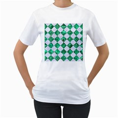Square2 White Marble & Green Marble Women s T Shirt (white)