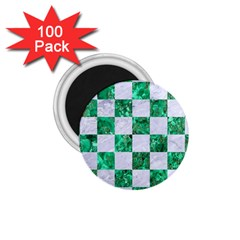 Square1 White Marble & Green Marble 1 75  Magnets (100 Pack)
