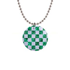Square1 White Marble & Green Marble Button Necklaces