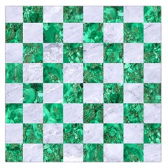 Square1 White Marble & Green Marble Large Satin Scarf (square)