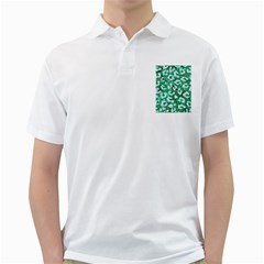 Skin5 White Marble & Green Marble (r) Golf Shirts