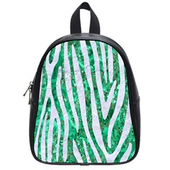 Skin4 White Marble & Green Marble (r) School Bag (small)