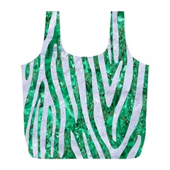 Skin4 White Marble & Green Marble (r) Full Print Recycle Bags (l)