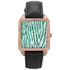 Skin4 White Marble & Green Marble Rose Gold Leather Watch