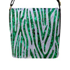 Skin4 White Marble & Green Marble Flap Messenger Bag (l)