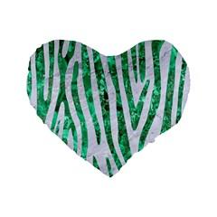 Skin4 White Marble & Green Marble Standard 16  Premium Flano Heart Shape Cushions by trendistuff