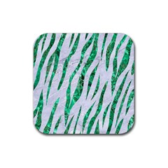 Skin3 White Marble & Green Marble (r) Rubber Coaster (square)
