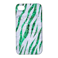 Skin3 White Marble & Green Marble (r) Apple Iphone 4/4s Hardshell Case With Stand